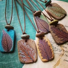 CERAMIC BEADS_Rustic ceramic leaf necklaces by kylie parry studios. Simple and earthy jewelry made using leaves from my garden. Ceramic Necklace, Ceramic Pendant, Ceramic Jewelry, Ceramic Clay, Ceramic Beads, Clay Beads, Leaf Pendant, Polymer Clay Crafts, Polymer Clay Jewelry