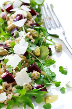 Roasted Beet and Farro Salad with Citrus Vinaigrette, Candied Pistachios, and Microgreens