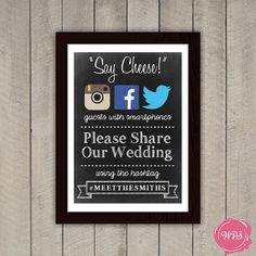 Technology Takeover: Incorporating Social Media into Your Wedding Day - Wedding Party Great ideas. I have to remember to live stream my wedding for Aunt Jody Lap Book Templates, Sign Templates, Free Wedding, Diy Wedding, Wedding Day, Wedding 2015, Chalkboard Wedding, Chalkboard Signs, Chalkboards