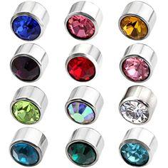 JOVIVI® Pair Stainless Steel Crystal Birthstones 6mm Round Ear Stud Piercing Earrings Gift