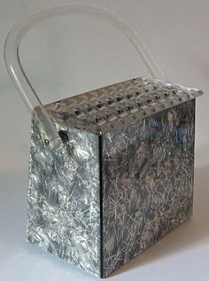 VINTAGE CARVED TOP MARBLED GRAY TINSEL LUCITE PURSE