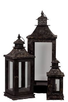 Urban Trends Collection Wooden Lantern Set of Three UTC35047