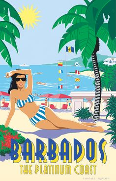 'Barbados' by Charles Avalon - Vintage travel posters - Art Deco - Pullman Editions