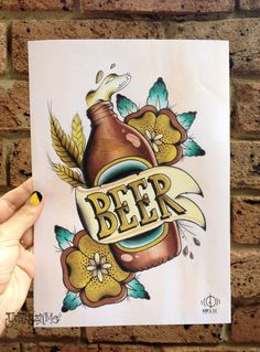 Beer- A4 Digital Print Watercolour Traditional Tattoo Flash