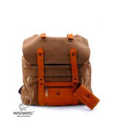 Portefeuille clé spacieux sac à dos femme en cuir inclus. Fait de coton brun naturel, combiné avec un cuir véritable. Fermoir de base : serrage sur un