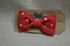 Small Red Hearts Bow Tie Pet Collar Bow for Cats or by GymboHannah, $10.00
