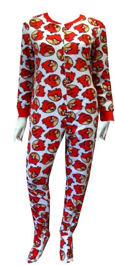 Angry Birds Big Red Gripper Bottom Footie Onesie PJ Smash that Pig! These super soft fleece pajamas for women feature the red Angry Bird on an ivory background. These one piece footie pajamas have ribbed cuffs at the wrist and have gripper bottom feet. Machine washable and easy care. Junior Cut.