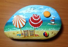 Easy Paint Rock For Try at Home (Stone Art & Rock Painting Ideas) Seashell Painting, Seashell Art, Seashell Crafts, Pebble Painting, Pebble Art, Stone Painting, Beach Crafts, Diy Painting, Stone Crafts