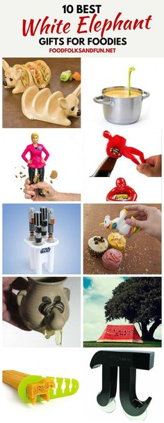 This roundup for 10 Best White Elephant Gift Ideas for Foodies are all so fun!