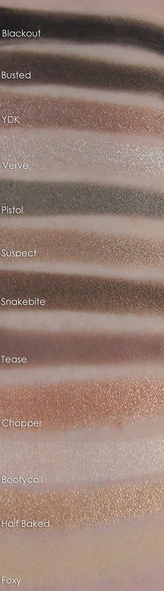 Urban Decay Naked 2 Palette- swatches, love this! You're able to see the colors and come up with ideas easier!