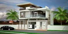 3d elevation of bungalow