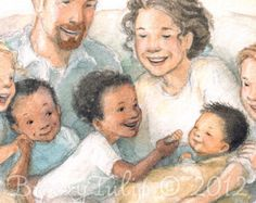 """""""For This Child We Prayed"""" portrays the overflowing love and joy of an adoptive family as they welcome their newest little one. By- Breezy Brookshire. Profits go to our friends' ministry, the Rescued Adoption Fund. Friendship Stories, Special Kids, Colorful Pictures, Mother And Child, Illustration Art, Book Illustrations, Childrens Books, Illustrators, Book Art"""