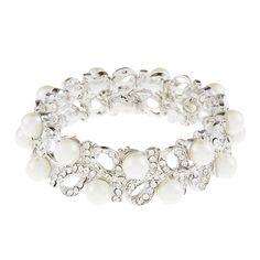 Alana Pearl and Rhinestone Bracelet Wedding Bracelet by SewSoiree, $43.00