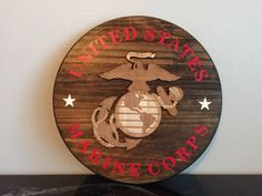 USMC Marine Corps Military Rustic Wall Sign by OmegaCustomDesign