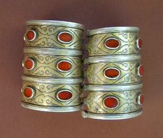 Antique pair of  fire-gilded silver Turkoman bracelets, from the Teke Tribe.  | Gold-wash  and beautiful honey color carnelians. | early 20th century.