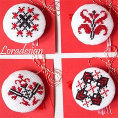 Mirela Mohjazi Handmade Martisoare cusute in punct romanesc Folk Embroidery, Beaded Embroidery, Cross Stitch Embroidery, Cross Stitch Art, Cross Stitch Patterns, Christmas Cross, Christmas Ornaments, Sewing Patterns, Crochet Patterns