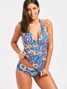 Halter Backless Printed Tankini Set - COLORMIX 2XL #beautiful#swimwear#woman#beauty