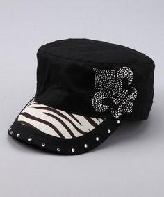 Take a look at this Zebra Rhinestone Fleur-de-Lis Newsboy Hat by Rhinestone 48a77148d018