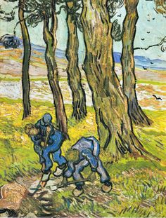 Two diggers among trees, 1889 / Vincent van Gogh [Dutch Post-Impressionist Painter, Art Van, Van Gogh Art, Vincent Van Gogh, Paul Gauguin, Desenhos Van Gogh, Van Gogh Pinturas, Van Gogh Paintings, Dutch Painters, Dutch Artists