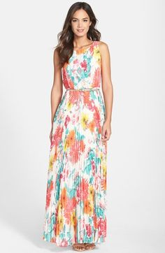 Eliza J Belted Floral Print Chiffon Maxi Dress at Nordstrom.com. Vibrant blooms pattern a lovely chiffon maxi dress rippling with sophisticated knife pleats. A slim metallic belt adds a touch of glam to the slender waist.