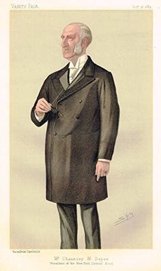 "Vanity Fair ""SPY"" Characterture - ""MR. CHAUNCEY M. DEPEW"" PRESIDENT OF THE NEW YORK CENTRAL ROAD - Chromolithograph - 1895"