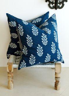Indian Hand block Print Throw Pillows Cushion Covers Organic Cotton and Organic Raw Linen 18x18 Pair Blue and White Print