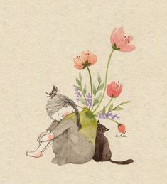 Image discovered by Naty. Find images and videos about girl, wallpaper and illustration on We Heart It - the app to get lost in what you love. Cat Drawing, Painting & Drawing, Art Japonais, Korean Artist, Cute Illustration, Belle Photo, Cat Art, Art Girl, Art Reference
