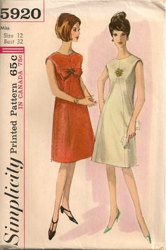 UNCUT Vintage 1960's Dress Pattern Simplicity 5920 by SewPatterns