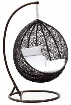 Ceri Synethic Wicker Outdoor Swing Chair – Model - — This Ceri outdoor swing chair is a colorful addition to any backyard or deck. Featuring brilliant black synthetic wicker and a white cushion. Hammock Chair, Swinging Chair, Patio Chair Cushions, Hammock Swing, Hanging Egg Chair, Outdoor Wicker Furniture, King Comforter Sets, Bedding Sets, White Cushions