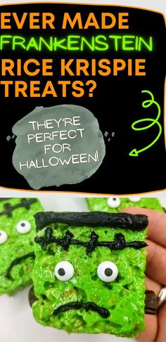 If you love Halloween, you are going to go crazy for this snack recipe. These easy, no bake Frankenstein Rice Krispie Treats are super scary and delicious! #nobakedesserts #easydesserts #ricekrispietreats Rice Crispy Treats, Krispie Treats, Rice Krispies, No Bake Desserts, Easy Desserts, Green Food Coloring, Snack Recipes, Snacks, Frankenstein