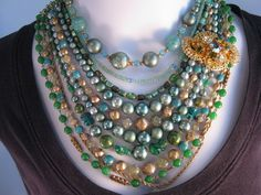Statement Necklace Multistrand Vintage by JenniferJonesJewelry, $125.00