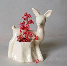 VINTAGE Fifties DEER PLANTER // Animal Planter // White Ceramic Deer // 50s Deer Figurine // 1950s Deer Statue. $14.00, via Etsy.