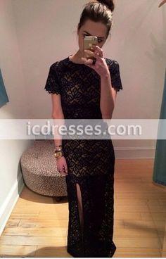 Fashion Round O Neck Short Sleeves Black Prom Dress Lace High Slit Long Formal Dress for Women Evening Dresses