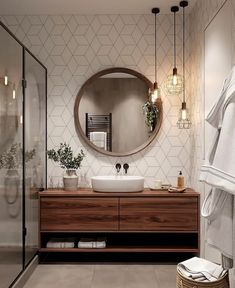 Bathroom Decor master home accents luxury Bathroom inspiration // Cozy bathroom , Cozy Bathroom, Scandinavian Bathroom, Bathroom Inspo, Bathroom Renos, Wc Bathroom, Scandinavian Style, Remodel Bathroom, Bathroom Cabinets, Round Bathroom Mirror