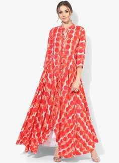 Buy Get Glamr Red Printed Anarkali online Kurta Patterns, Dress Patterns, Ethnic Trends, Stylish Kurtis, Indian Tunic, Kurti Styles, Simple Gowns, Gown Pattern, Red Gowns