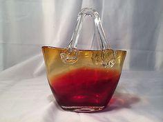 Amberina Art Glass Handbag Purse Fashion Basket Vase by Design Society