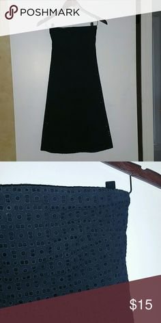 Knee length dress Black A-line dress with eyelet detail New York & Company Dresses Strapless