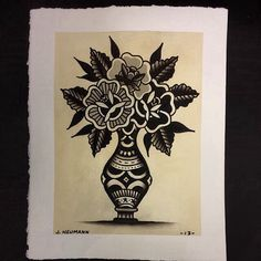 Traditional tattoo. Flash art. Vase and flowers.