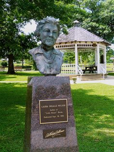 Laura's bust in Mansfield town square