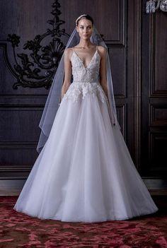 Monique Lhuillier deep-V wedding dress