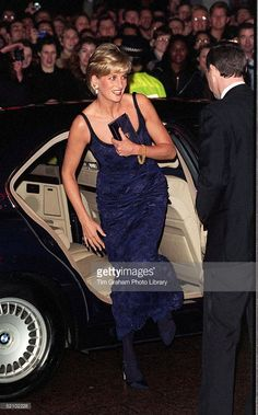 Diana, Princess Of Wales Attending The Premiere Of The Film 'in Love And War' At The Empire In Leicester Square In Aid Of The British Red Cross Anti-personnel Mines Campaign. She Arrives In A Bmw Car.