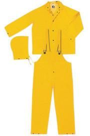 River City Garments Large Yellow PVC And Polyester Flame Resistant 3 Piece Rain Suit | 10 Per Case