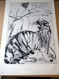 Vintage Circus Poster TIGER and Trainer Black and White Poster Size Book Plate