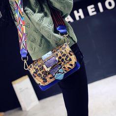 eb556258d7a9 Leopard Snakeskin Crossbody Flap Bag with Multicolor Strap. LoomRack