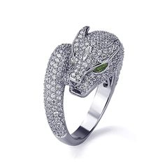 Sterling Silver Rhodium Plated, Puma Design CZ Pave Setting Right Hand Ring 16mm ** See this awesome image  : Jewelry Ring Statement