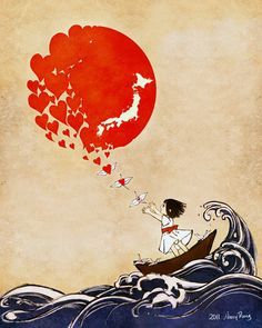 """Llittle girl in a boat on a roiling sea releasing cranes that turn into hearts which float up to make up the """"rising sun"""" with white image of Japan in the sun  - tattoo"""