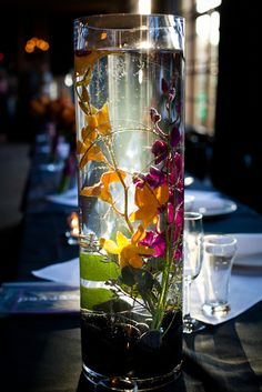 Submerged flowers centerpiece with candles and rocks or stones--love the photography trick too! :D