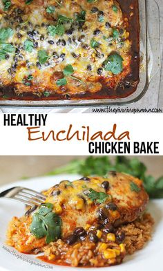 Healthy Enchilada Chicken Bake --- I didn't know easy and healthy could taste this good!  Perfect weeknight dinner.