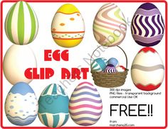 Free Easter Egg Clip Art - 10 Clipart Images OK for Commercial Use product from Marchena35 Clip Art on TeachersNotebook.com
