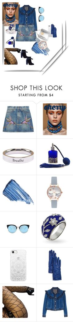 """""""silver blue"""" by lolla-cher ❤ liked on Polyvore featuring Gucci, Pink Box, Sisley, Olivia Burton, Casetify, Bloomingdale's, Rebecca Taylor, Mark Cross, Blue and Silver"""